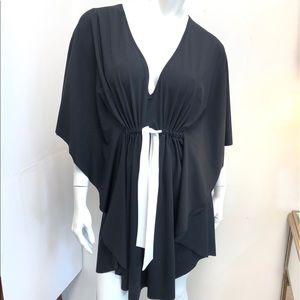 Profile Black Swimsuit Cover w White Tie Waist XL